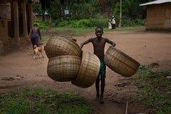 Sierra Leone, West-Afrika, het dorp van Yongoro stock foto's