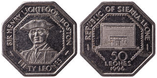 50 Sierra Leonean leones coin, 1996, both sides,. Isolated on white background royalty free stock photos