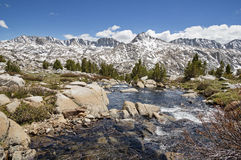 Sierra Mountain Landscape. Sierra Nevada Landscape with Glacier Divide viewed from Humphreys Basin with stream in foreground Stock Images