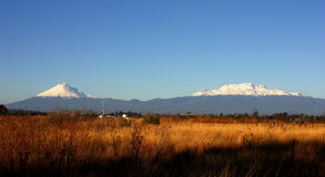 Sierra nevada. View of the popocatepetl and iztaccihuatl volcanoes, mexico Royalty Free Stock Photography