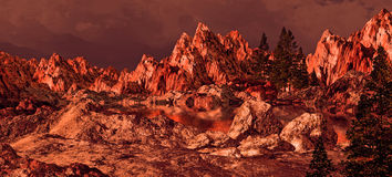 Sierra Nevada Lake Alpenglow. Sierra Nevada lake with rock formations brought out by the morning sun light royalty free illustration