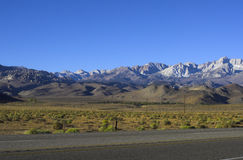 Sierra Nevada in Morning Light. Panorama of California's Sierra Nevada in morning light viewed from the east Royalty Free Stock Photo