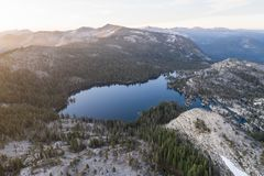 Aerial View of Lake and Sierra Nevada Mountains in California