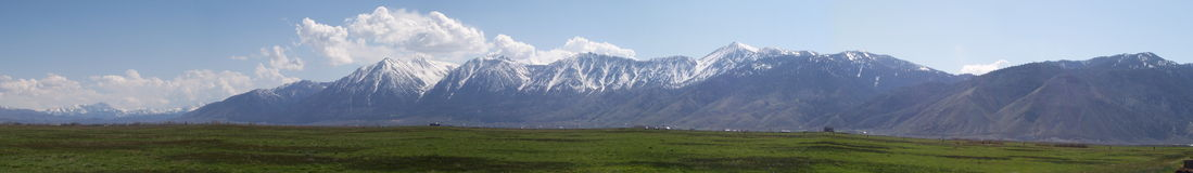 Sierra Nevada Mountains in Carson Valley. A panoramic View of the Sierra Nevada Mountains as seen from Genoa Lane in Carson Valley, Nevada Stock Photo