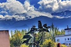 Sierra Nevada Mountains Snow Ski Area Granada Andalusia Spain. Sierra Nevada Mountains Ski Area Garden Flowers Trees Granada Andalusia Spain Stock Photos