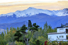 Sierra Nevada Mountains Snow Ski Area Grenade Andalousie Espagne Image libre de droits