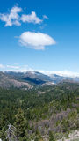 Sierra Nevada Panorama. Vertical view of the Sierra Nevada from highway 80 Westbound past Donner Summit, California, USA, in the winter of 2017 Stock Image