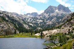 The Sierra Nevada. Sawtooth peaks and a beautiful lake in the Sierra Nevada mountain range, California stock photography