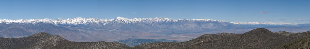 Sierra Panorama - North half. From the Sierra Vista viewpoint in the White Mountains, a clear spring day offers a 300 mile long view of the Sierra Nevada Royalty Free Stock Photography