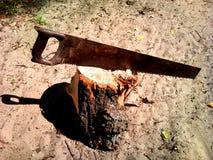 Sierra, sierra para metales, handsaw, tocón, herramientas en verano Fotos de archivo libres de regalías