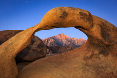 Sierra sunrise with Mobius Arch. Arch Sunrise at Lone Pine, California, USA Royalty Free Stock Photos