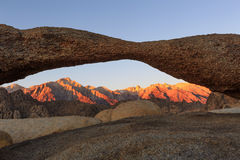 Sierra sunrise with Mobius Arch. Arch Sunrise at Lone Pine, California, USA Royalty Free Stock Photo