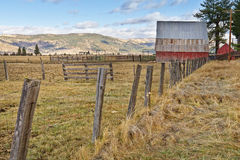Sierra Valley, California ranch. Red barn and ranch land in the Sierra Valley, California stock photo