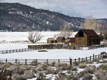 Sierra Valley ranch in Winter Stock Images