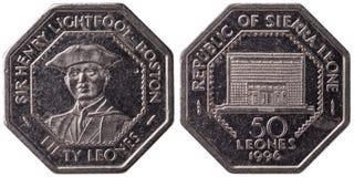 50 sierraleonino moneta di leone, 1996, entrambi i lati, Fotografie Stock Libere da Diritti