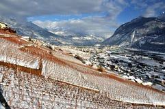 Sierre in de Zwitserse Alpen Stock Foto's