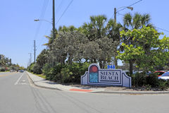 Siesta Beach Entrance Sign Royalty Free Stock Photos
