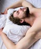 Siesta desnuda del sueño del torso del individuo hermoso sin afeitar del hombre en cama El sueño barbudo sin afeitar soñoliento d fotografía de archivo