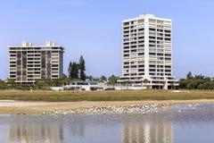 Siesta Key Florida. Condominiums buildings along the shore line of Siesta Key beach. Florida outside of Sarasota Stock Images