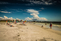 Siesta Key Landscape. Beachgoers enjoy the sun and sand at Siesta Key Beach in Florida royalty free stock photography