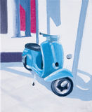 Siesta oil painting turquoise scooter Stock Images