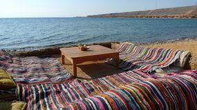 Siesta place at Red Sea, Egipt. Restaurant place in Bedouin style Royalty Free Stock Photography