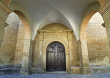 Sietamo (Huesca, Aragon), historic church, portico Stock Photo