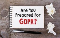 Siete avete preparato per il regolamento generale di protezione dei dati, GDPR immagini stock libere da diritti