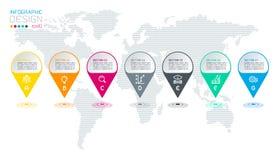 Siete círculos con infographics del icono del negocio ilustración del vector