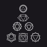 Siete chakras humanos, ejemplo, color blanco y negro Imagenes de archivo