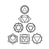 Siete chakras humanos, ejemplo del vector Foto de archivo libre de regalías