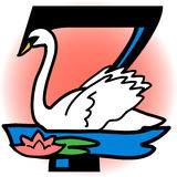 Siete cisnes una natación/EPS Fotografía de archivo