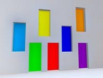 Siete colores del arco iris de las puertas Fotografía de archivo libre de regalías