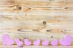 Siete corazones rosados Imagen de archivo