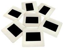 siete diapositivas negras con los marcos blancos, lightbox Fotos de archivo libres de regalías