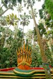 Siete dirigieron el rey de la serpiente o al rey de la estatua del naga en Kamchanod FO Fotos de archivo libres de regalías