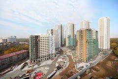 Siete edificios bajo construcción Foto de archivo libre de regalías
