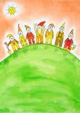 Siete enanos, el dibujo del niño, pintura de la acuarela Fotografía de archivo libre de regalías