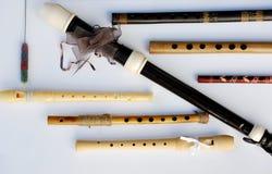 Siete flautas de madera y registradores de madera Imágenes de archivo libres de regalías