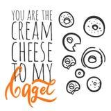 Siete il formaggio cremoso al mio bagel Logo del bagel Può essere usata per la maglietta, l'insegna, la carta ed altra la progett Fotografia Stock