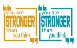 Siete più forte di pensate la citazione illustrazione di stock