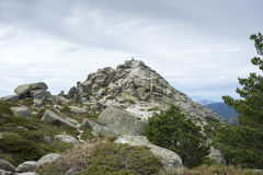Siete Picos七峰顶范围的远足者 库存图片