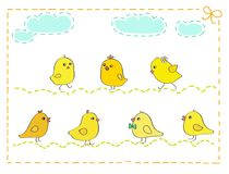 Siete pollos amarillos con el ejemplo del vector del marco de la puntada Foto de archivo libre de regalías
