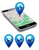 Siete qui - telefoni con il cellulare di Smart delle cellule dell'icona del puntatore della mappa Immagine Stock