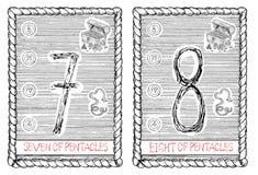 Siete y ocho de pentáculos La carta de tarot ilustración del vector
