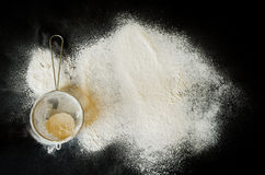 Sieve and a flour Royalty Free Stock Photos