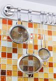 Sieve in kitchen Stock Images