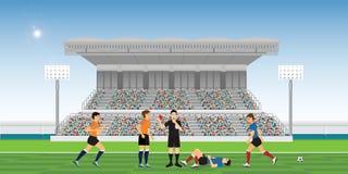 Sifflement de soufflement d'arbitre et tenir la carte rouge pour le footballeur illustration libre de droits