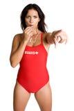Sifflement de soufflement de maître nageur Photographie stock