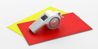 Sifflement et cartes jaunes rouges d'isolement sur le fond blanc illustration 3D illustration libre de droits
